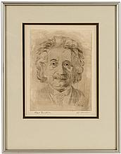 Original etched portrait of Albert Einstein, signed by both Einstein & the artist J.J. Muller