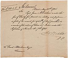 Manuscript Document Signed by Charles Biddle as Vice President of the Supreme Executive Council of Pennsylvania, presided over by Benjamin Franklin, offering aid to Chinese sailors in U.S.