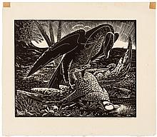 Bird of Prey - wood engraving for the members of The Woodcut Society