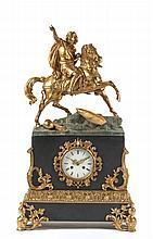 Relógio de mesa em mármore e bronze