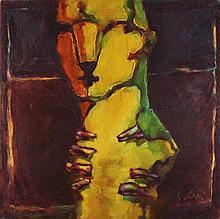 José Bedia Valdés, óleo s/tela, 100 x 100 cm.