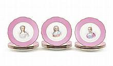 Conjunto de 12 pratos em porcelana Sèvres