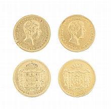 2 moedas de ouro de 1.000 reis D. Pedro V