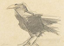 JÚLIO POMAR, carvão s/papel, 26 x 37 cm.