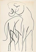 JÚLIO POMAR, tinta sobre papel, 108,5 x 75 cm