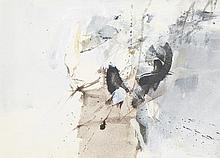 JÚLIO POMAR,  mista sobre papel, 28 x 39 cm.