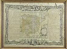 Mapa da Península Ibérica. Emoldurado.