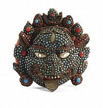 Máscara Indonésia em cobre c/aplicações