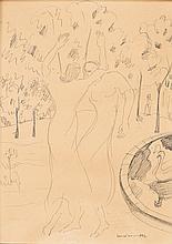 Figuras, desenho sobre papel, 32 x 24 cm.