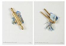 BENES, 2 mistas com colagens s/ papel, 35 x 25 cm.