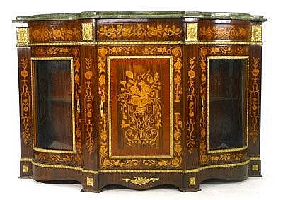 A 19th century-style walnut, inlaid and gilt metal