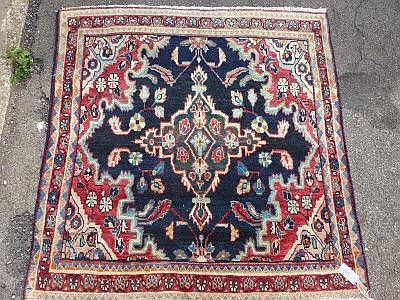 A modern Hamadan carpet, dark blue ground, approx.