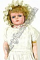 Large wax headed doll with fixed blue glass eyes, composition  arms and legs  with painted detail to the socks and shoes