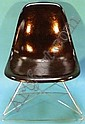 Fibreglass childs chair on chrome cats cradle base illustrated