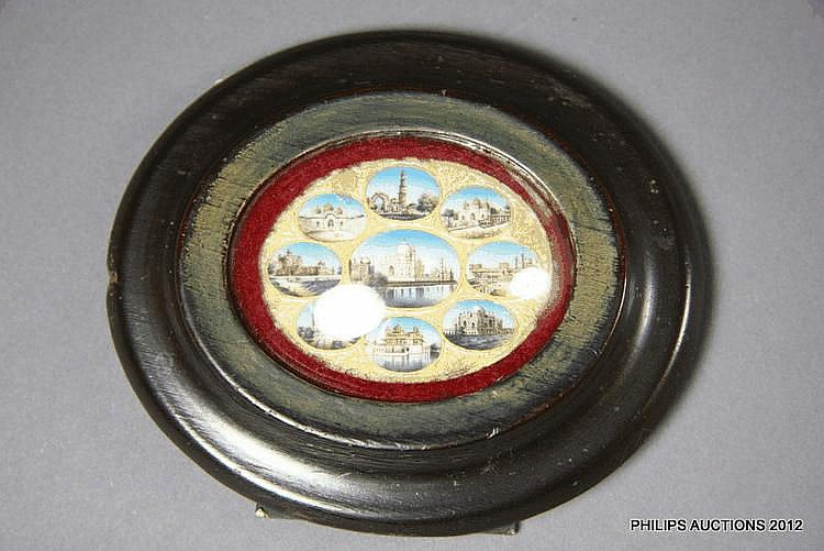 A MINIATURE GROUP OF VIEWS OF THE TAJ MAHAL, GOLDEN TEMPLE, RED FORT, AND OTHER LANDMARK INDIAN BUILDINGS