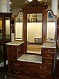 Renaissance Revival Marble Top Drop Center Dresser: