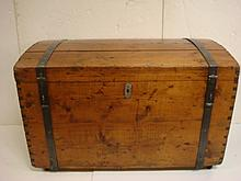 19th CENTURY Dome Top PINE TRUNK with Iron Bands: