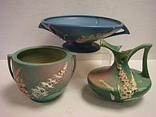 Two ROSEVILLE FOXGLOVE Bowls and Ewer: