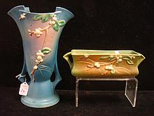 TWO ROSEVILLE SNOWBERRY VASES, Blue and Green Grounds: