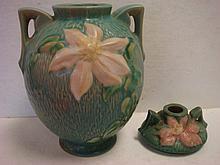ROSEVILLE MAGNOLIA Vase & CLEMATIS Candleholder: