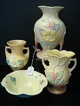 FOUR PIECES OF HULL ART POTTERY: