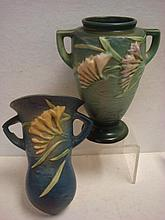 Green Ground ROSEVILLE FREESIA Vase and Wall Pocket: