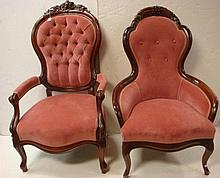 Ladies and Gents Victorian Upholstered Parlor Chairs: