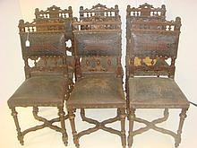 6 Italian Tooled Leather, Carved Walnut Side Chairs: