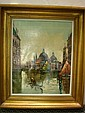 Oil on Canvas Venice Canal Scene with Gondola: