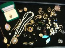 Assortment of Mismatched Fine & Costume Jewelry: