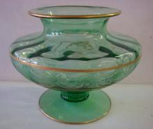 Green Optic Panel Etched Footed Vase: