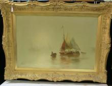 Waterscape Oil on Canvas Signed J HAYES: