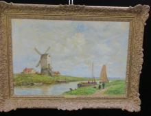 Dutch Landscape Oil on Canvas Signed J MARIS: