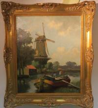 Artist Signed Oil on Canvas Dutch Landscape: