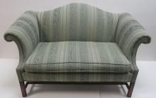 Green Chippendale Camelback Settee