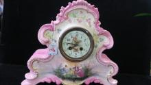 Hand painted AD MOUGIN Porcelain 8 Day Mantle Clock: