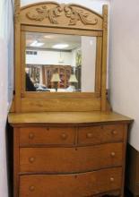 Golden Oak 2 Piece Dresser with Swing Mirror:
