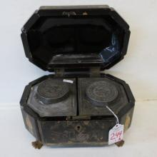 Chinese Export 19thC. Lacquered Tea Caddy: