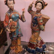 Two Female Figurines in SHIWAN Tradition Ceramic: