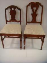 Two Mahogany Framed Upholstered Side Chairs: