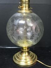 Bohemian Etched Glass Electric Lamp: