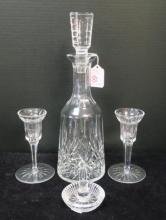 WATERFORD Decanter, Candlesticks and Ring Holder: