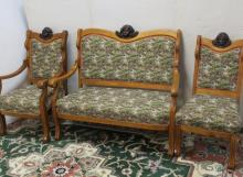 Antique 4Pc. Oak Parlor Set with Carved Female Heads:
