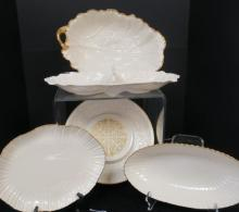 Five Lenox Serving Pieces, 4 with Gold Accents: