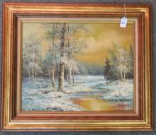 Woodland Snow Scene Oil on Canvas Signed J Medina: