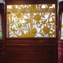 Asian Rosewood Stained with Carved Wood Lattice Panel: