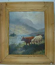 HR ROBINSON Scottish Highland Cattle, Oil on Canvas: