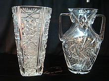Two Fine Cut Crystal Vases: