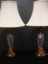 Pair of Cross Cut Crystal and Bronzed Metal Lamps: