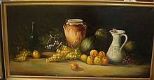 Still Life Fruit, Wine and Pitcher Oil on Canvas: